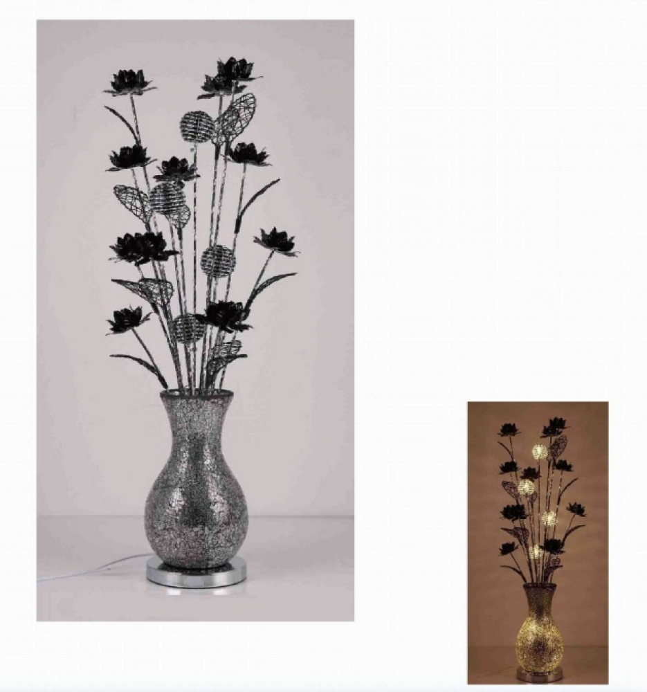schwarze blumen lampe 100 cm blumen in vase lampe ebay. Black Bedroom Furniture Sets. Home Design Ideas